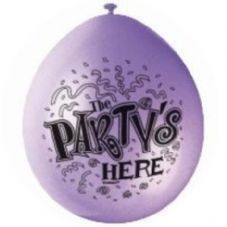 "10 'The Party's Here' 9"" Assorted Colour Balloons"